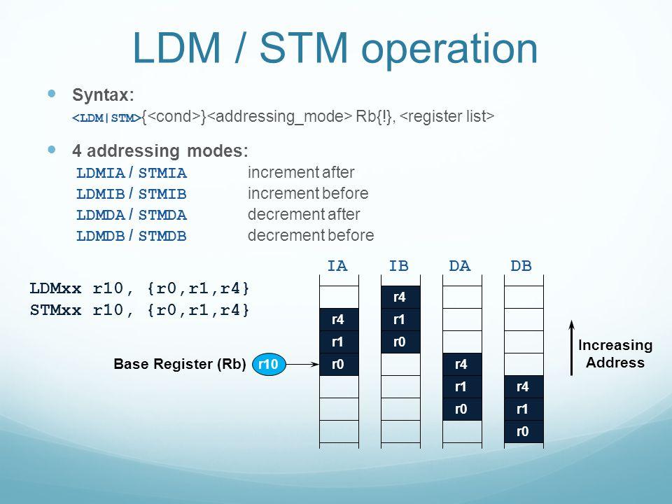 LDM / STM operation Syntax: 4 addressing modes: IA IB DA DB