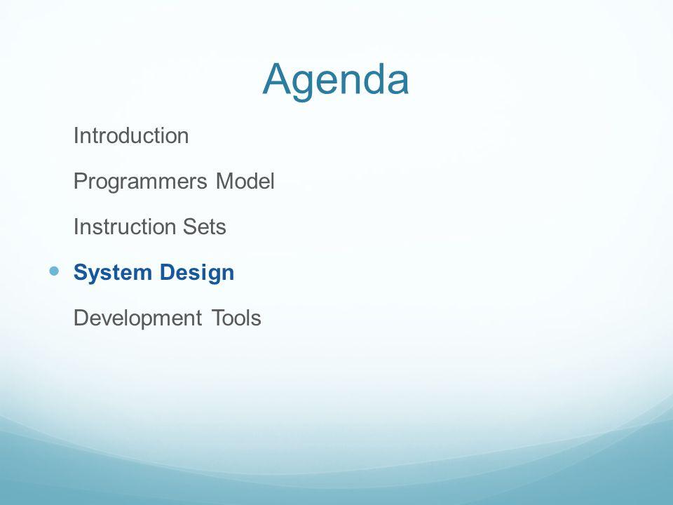 Agenda Introduction Programmers Model Instruction Sets System Design