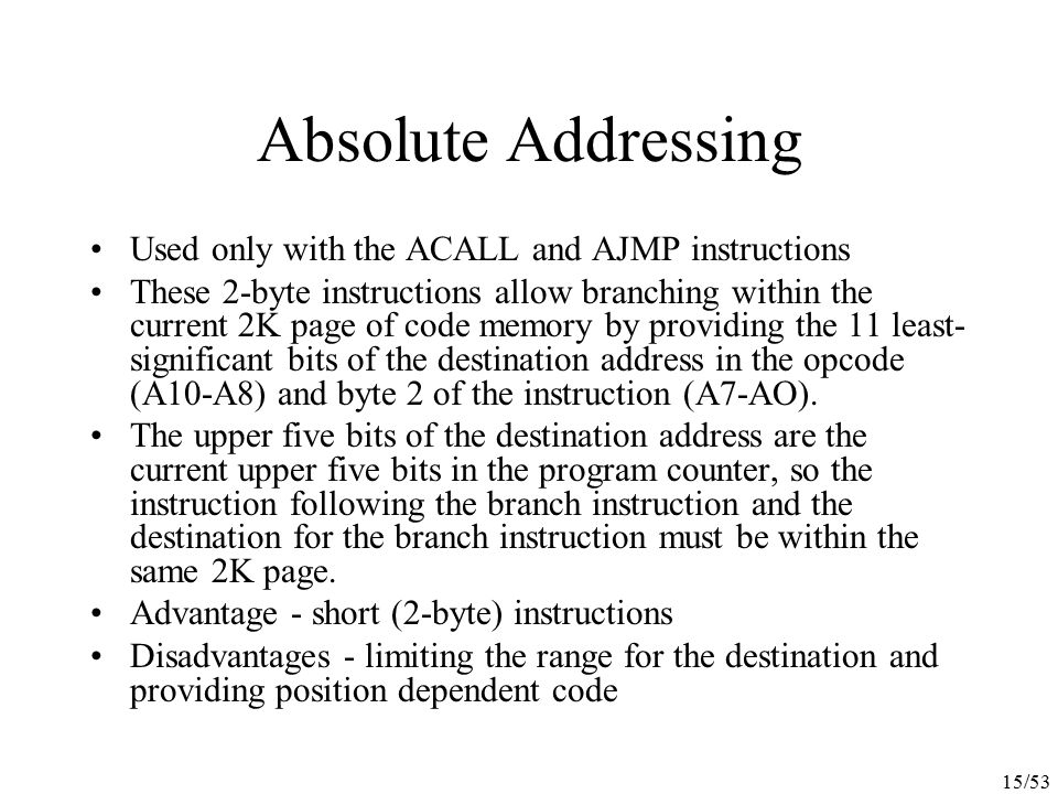 Absolute Addressing Used only with the ACALL and AJMP instructions