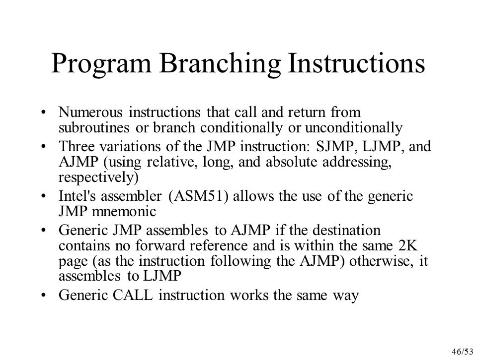 Program Branching Instructions