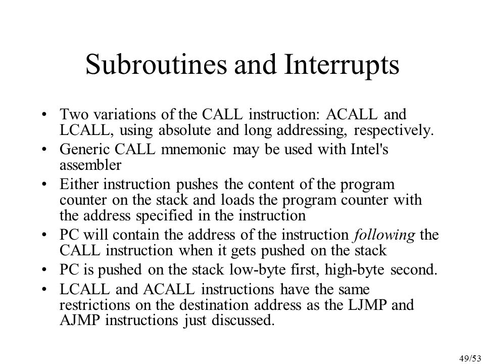 Subroutines and Interrupts