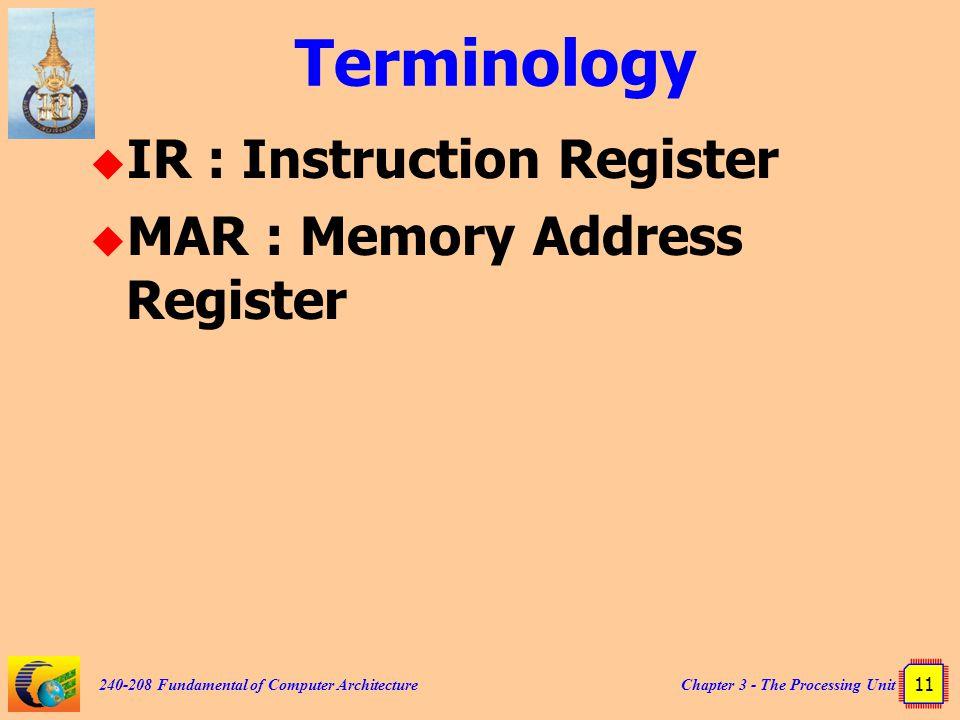Terminology IR : Instruction Register MAR : Memory Address Register