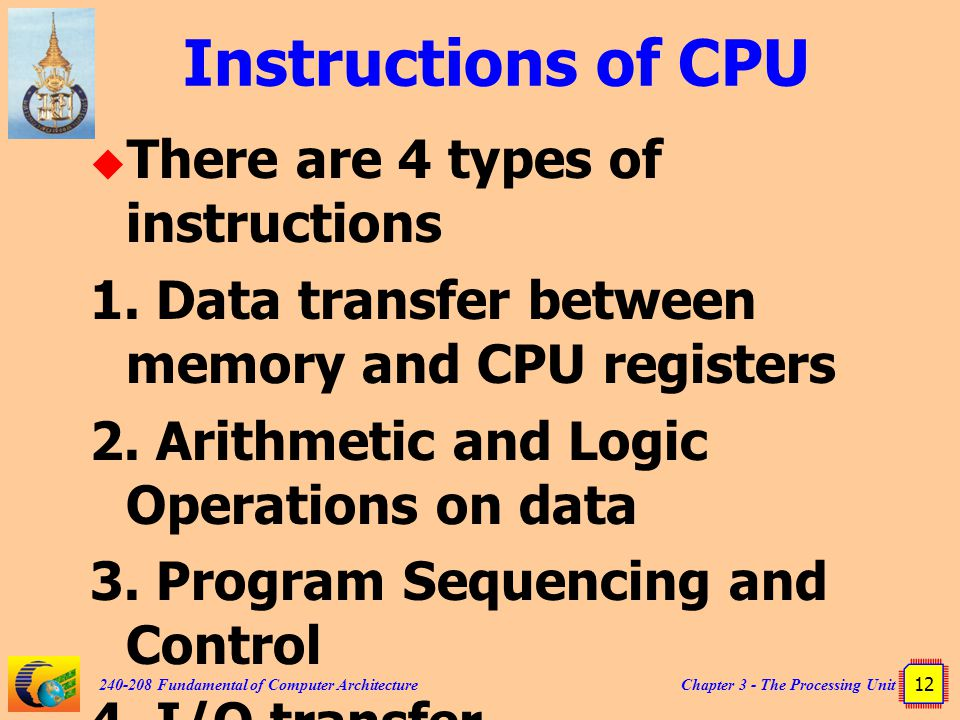 Instructions of CPU There are 4 types of instructions