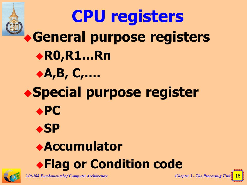 CPU registers General purpose registers Special purpose register