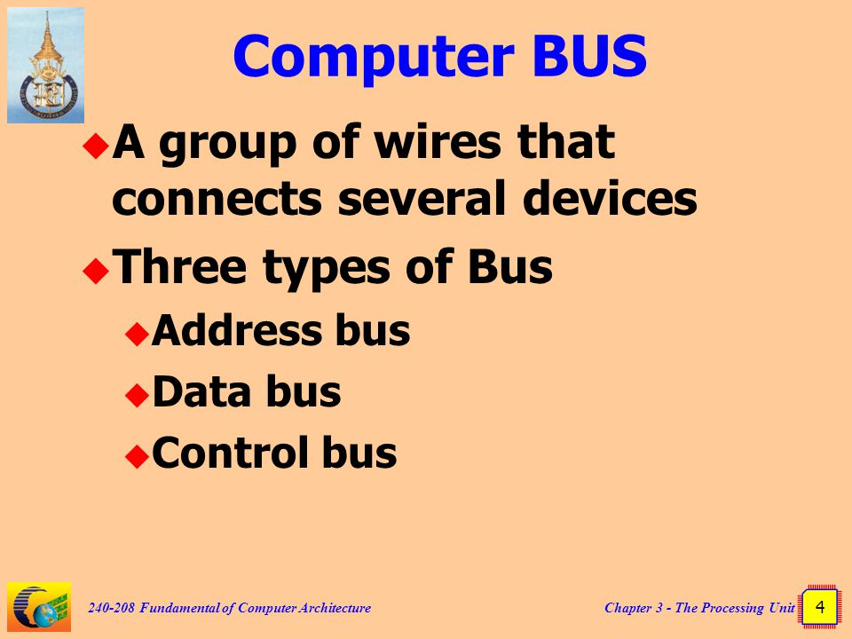 Computer BUS A group of wires that connects several devices