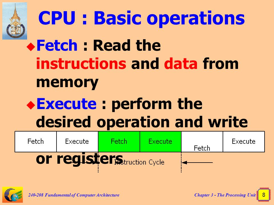 CPU : Basic operations Fetch : Read the instructions and data from memory.