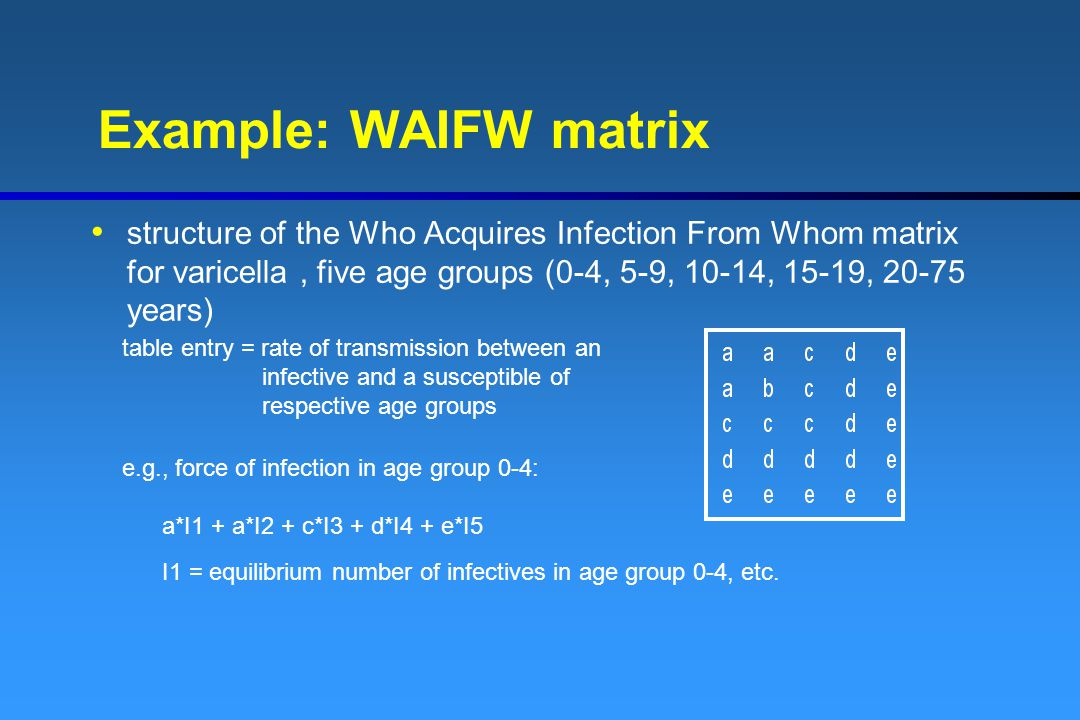Example: WAIFW matrix structure of the Who Acquires Infection From Whom matrix for varicella , five age groups (0-4, 5-9, 10-14, 15-19, 20-75 years)
