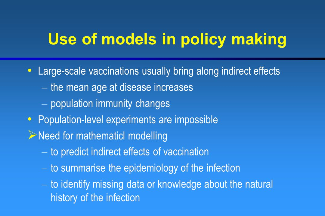 Use of models in policy making