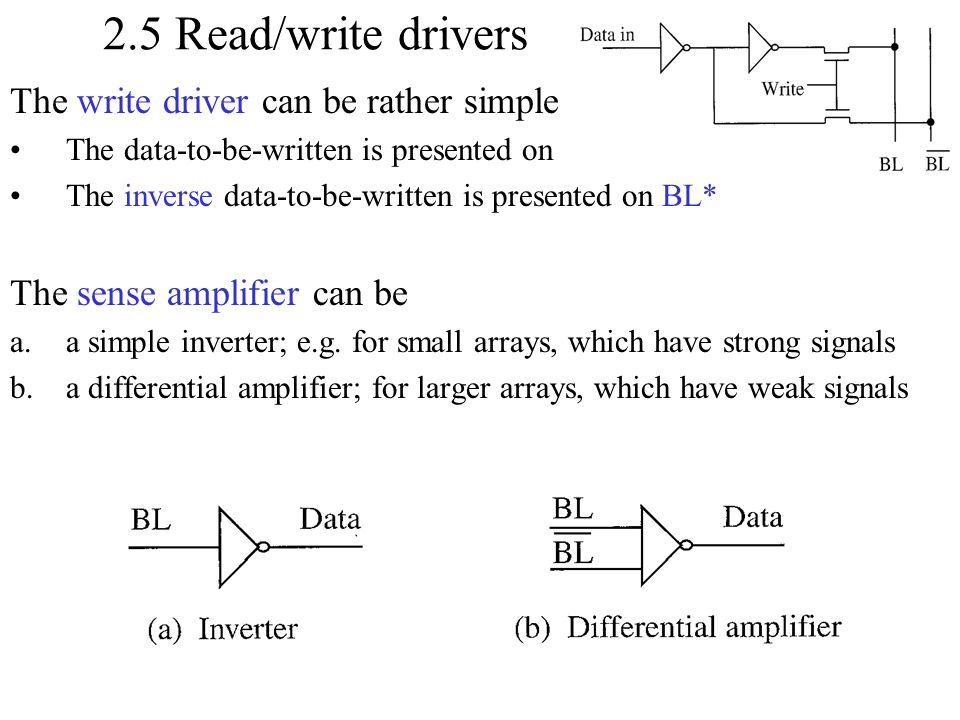 2.5 Read/write drivers The write driver can be rather simple