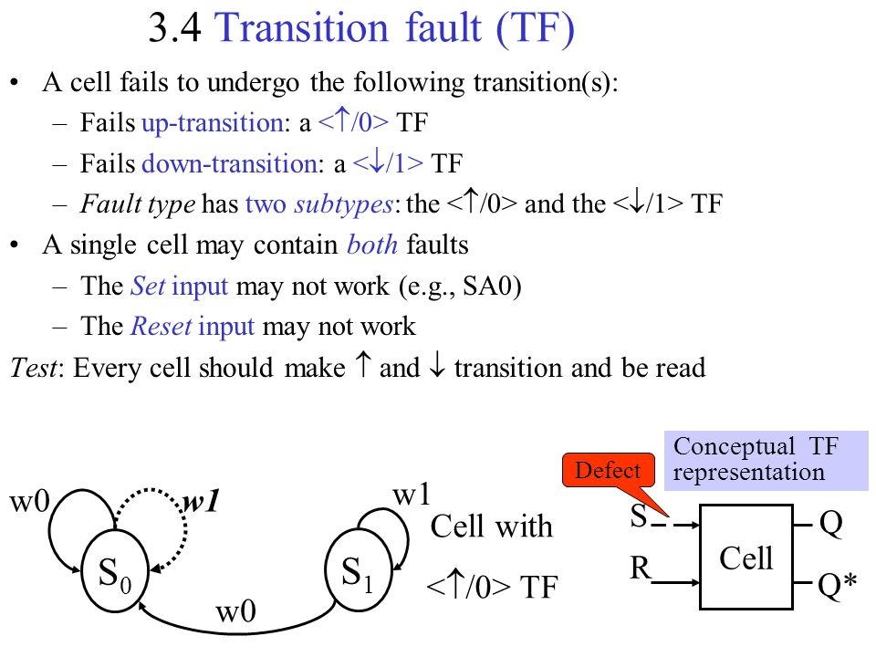 3.4 Transition fault (TF) S0 S1 w1 S Q Cell with </0> TF Cell R