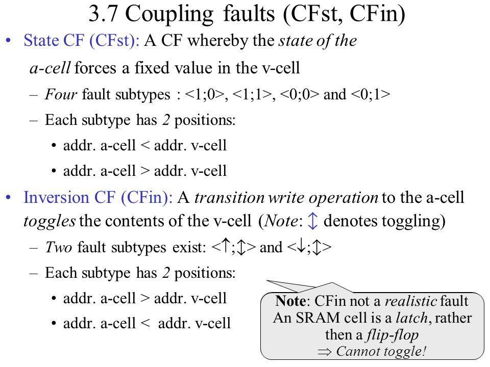 3.7 Coupling faults (CFst, CFin)