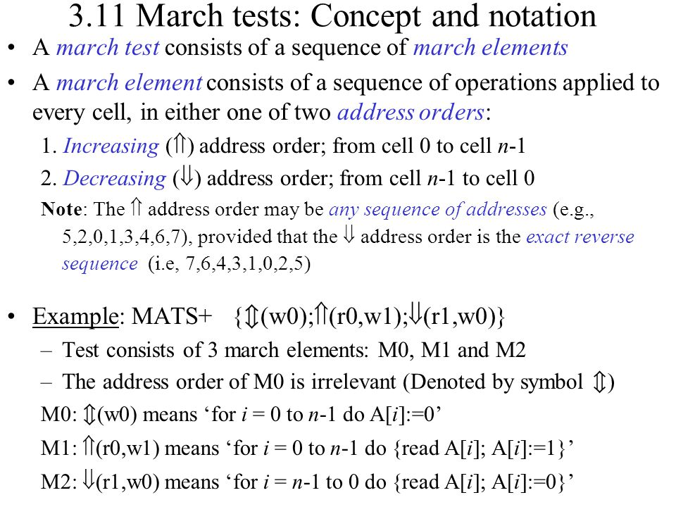 3.11 March tests: Concept and notation
