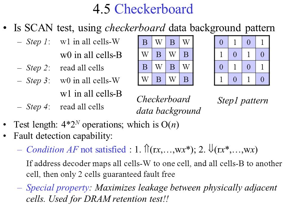 4.5 Checkerboard Is SCAN test, using checkerboard data background pattern. Step 1: w1 in all cells-W.