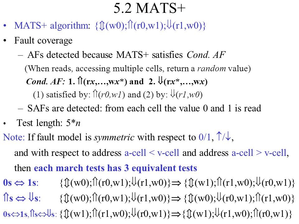 5.2 MATS+ MATS+ algorithm: {(w0);(r0,w1);(r1,w0)} Fault coverage