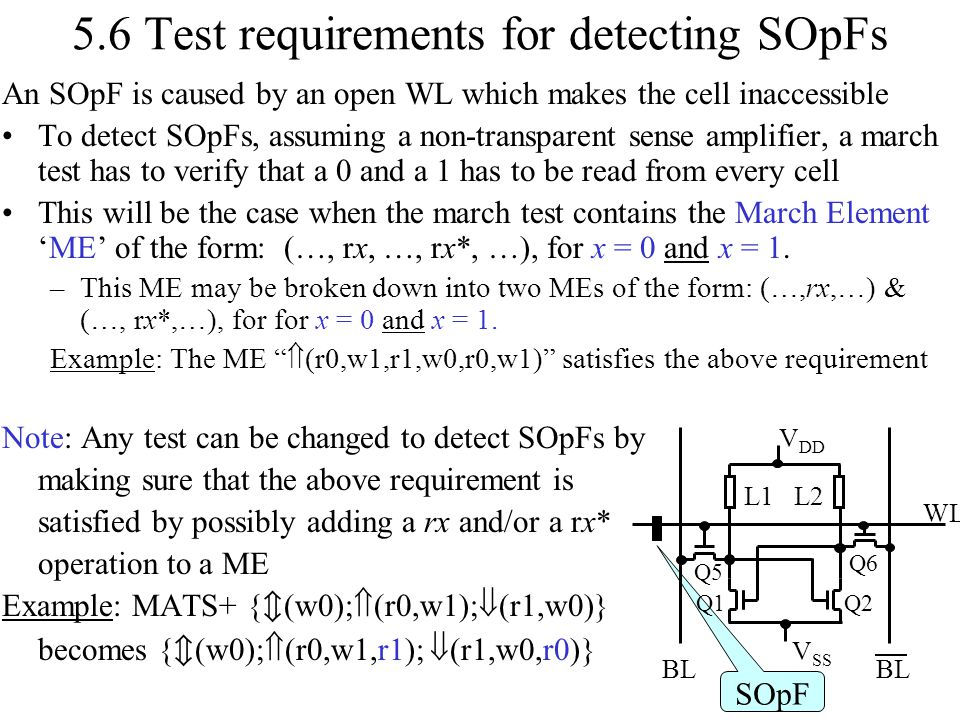 5.6 Test requirements for detecting SOpFs