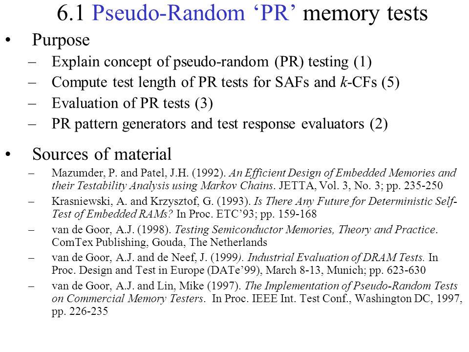 6.1 Pseudo-Random 'PR' memory tests