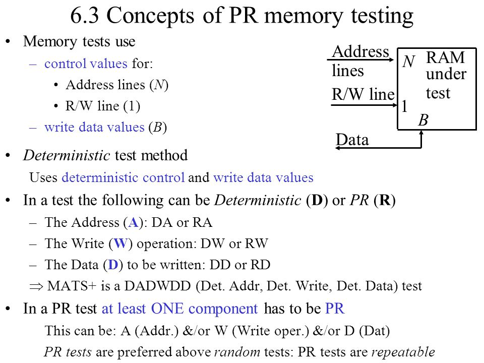6.3 Concepts of PR memory testing