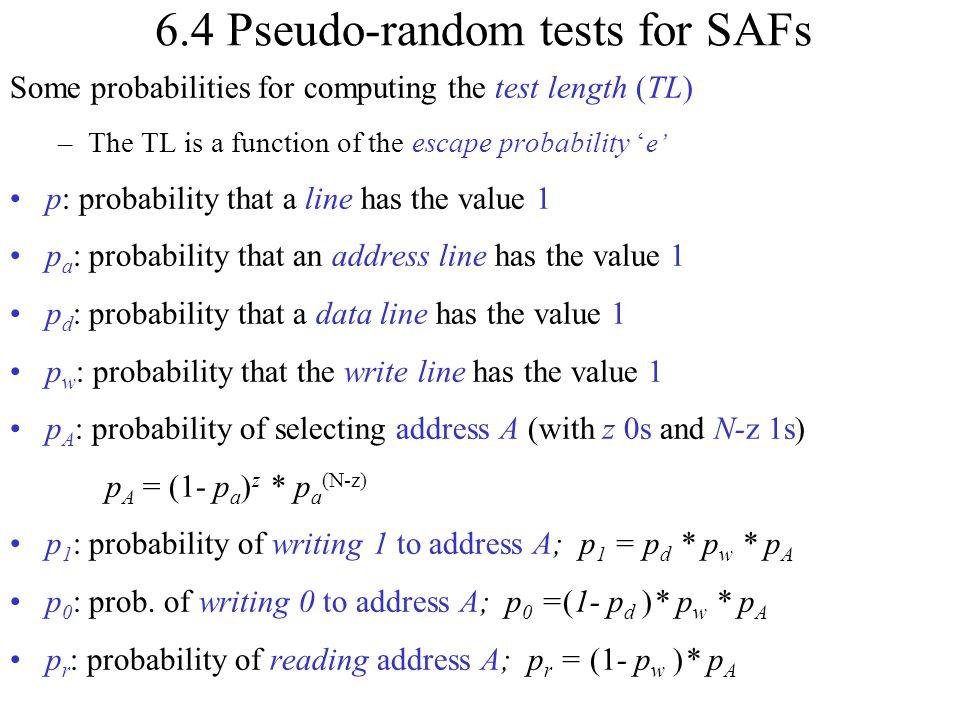 6.4 Pseudo-random tests for SAFs