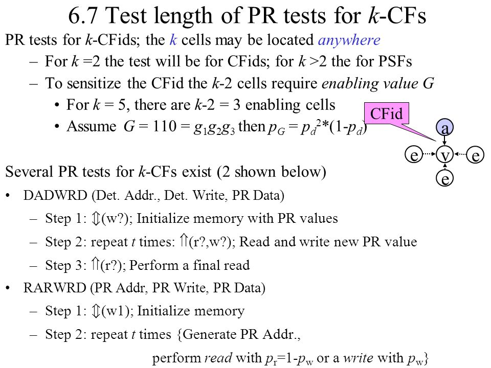 6.7 Test length of PR tests for k-CFs