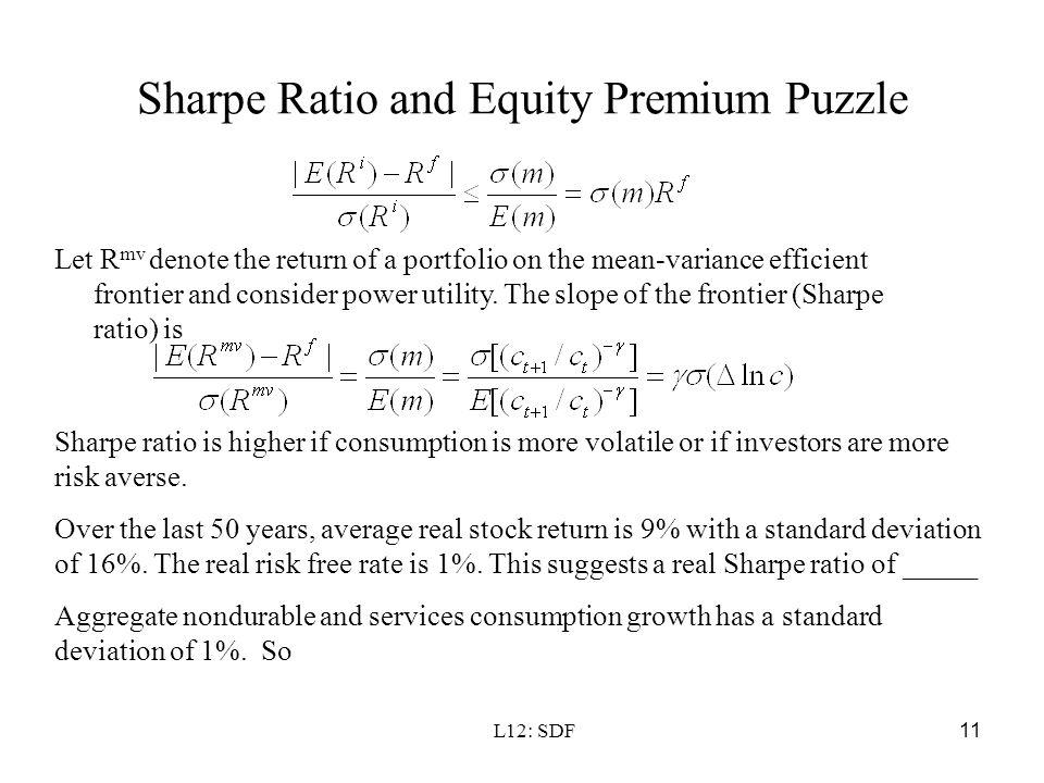 Sharpe Ratio and Equity Premium Puzzle