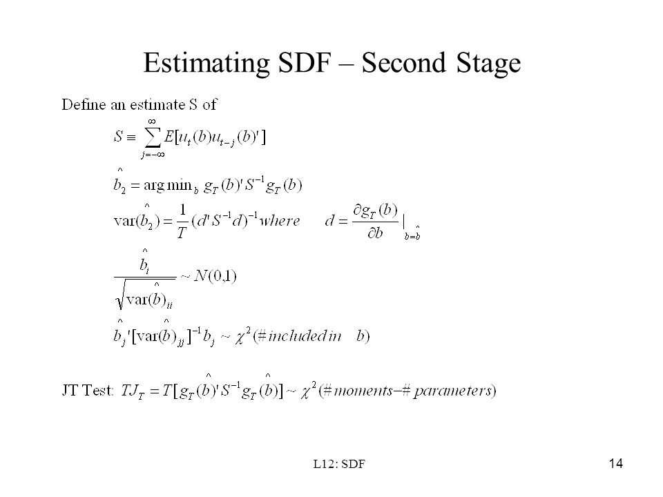 Estimating SDF – Second Stage