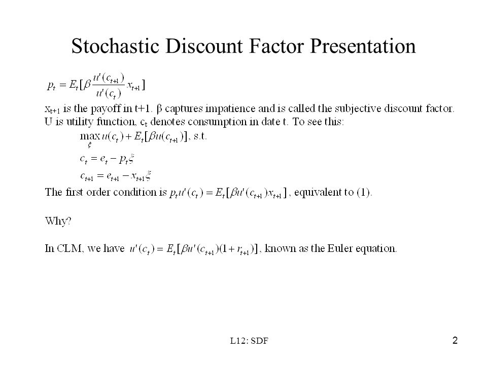 Stochastic Discount Factor Presentation