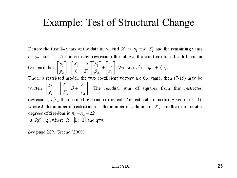 Example: Test of Structural Change