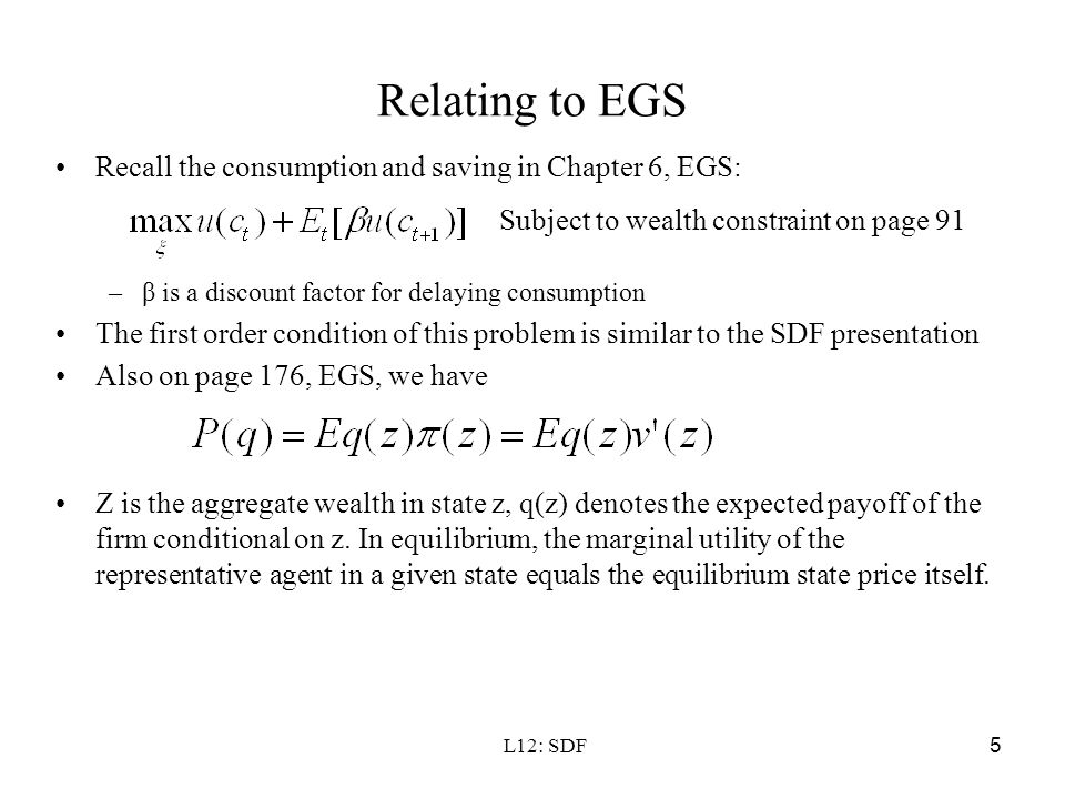 Relating to EGS Recall the consumption and saving in Chapter 6, EGS: