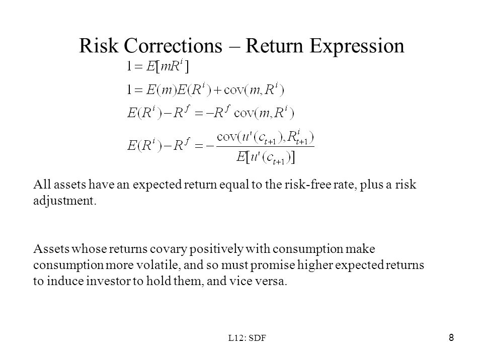 Risk Corrections – Return Expression