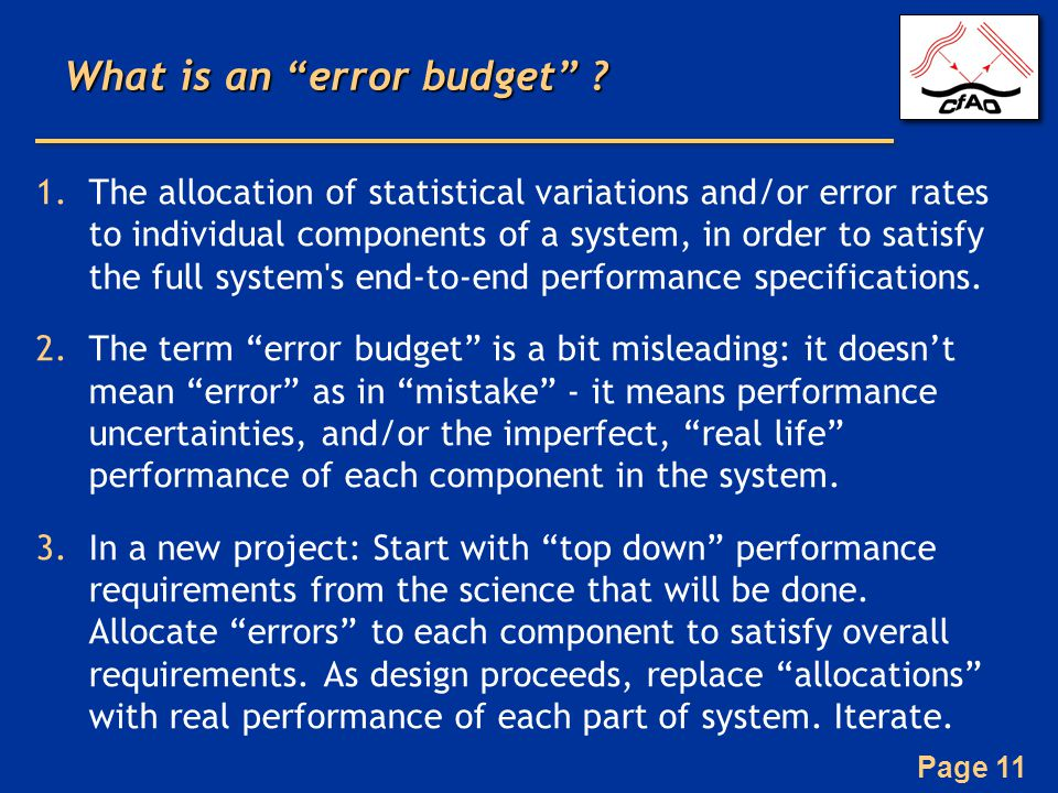 What is an error budget
