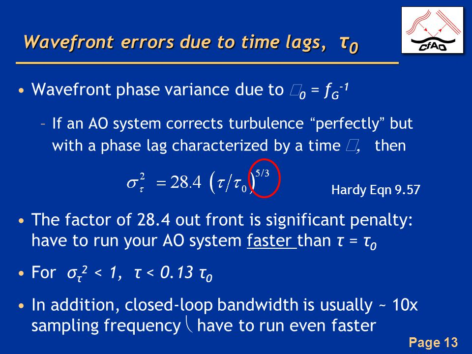 Wavefront errors due to time lags, τ0