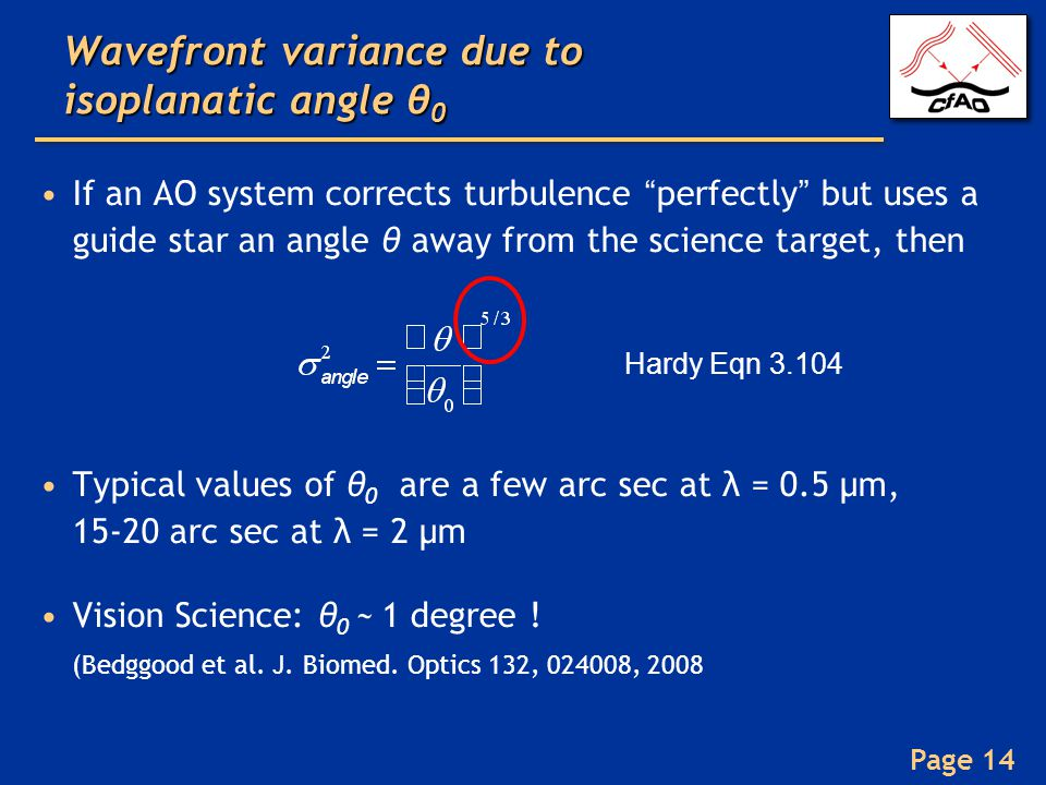 Wavefront variance due to isoplanatic angle θ0