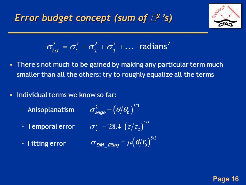 Error budget concept (sum of σ2 's)
