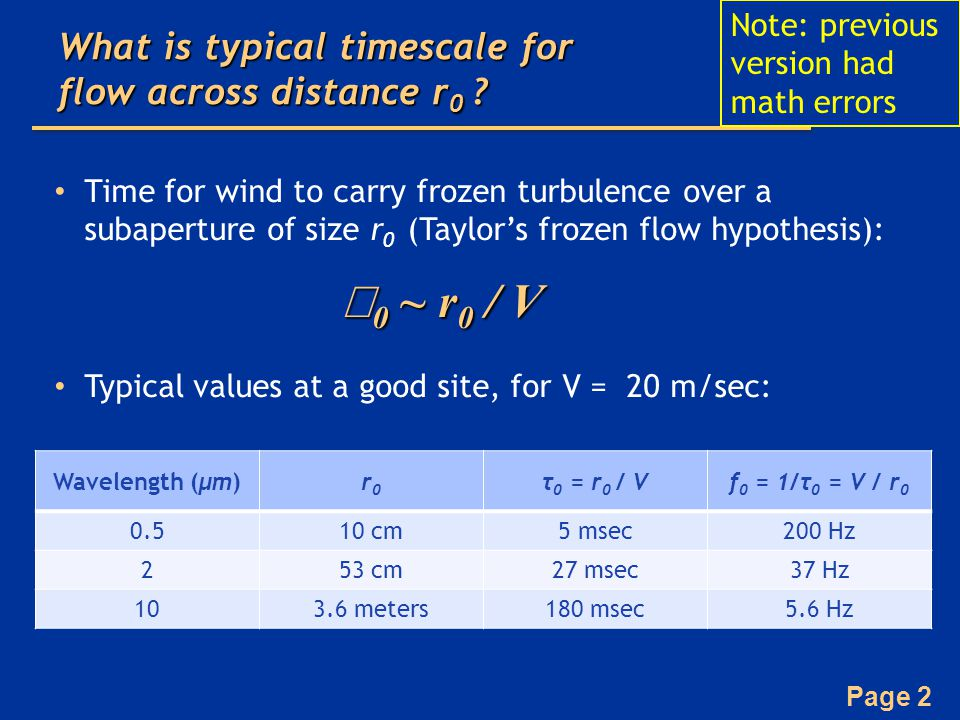 What is typical timescale for flow across distance r0