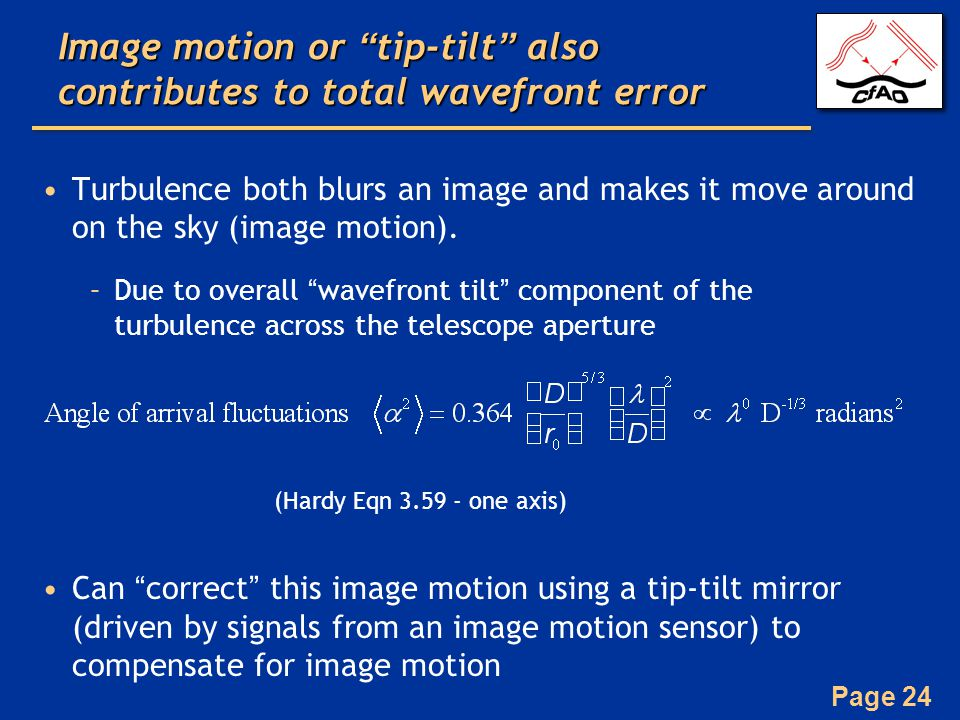Image motion or tip-tilt also contributes to total wavefront error