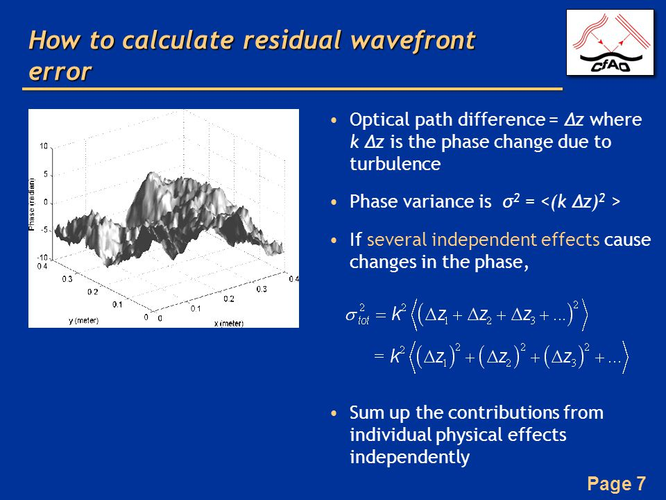 How to calculate residual wavefront error