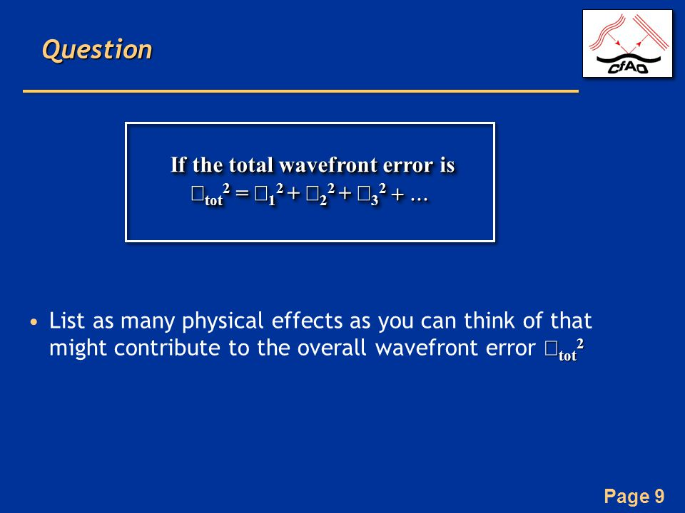 If the total wavefront error is