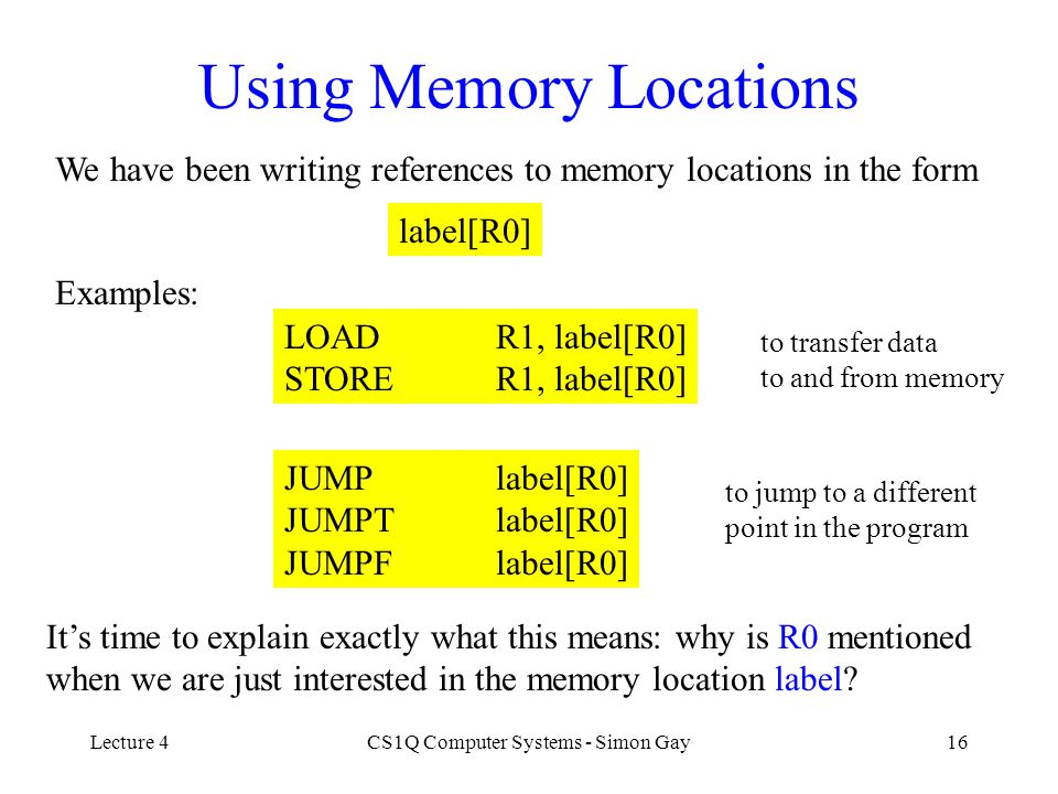 Using Memory Locations