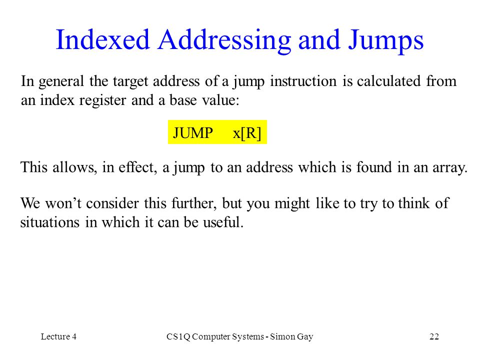 Indexed Addressing and Jumps