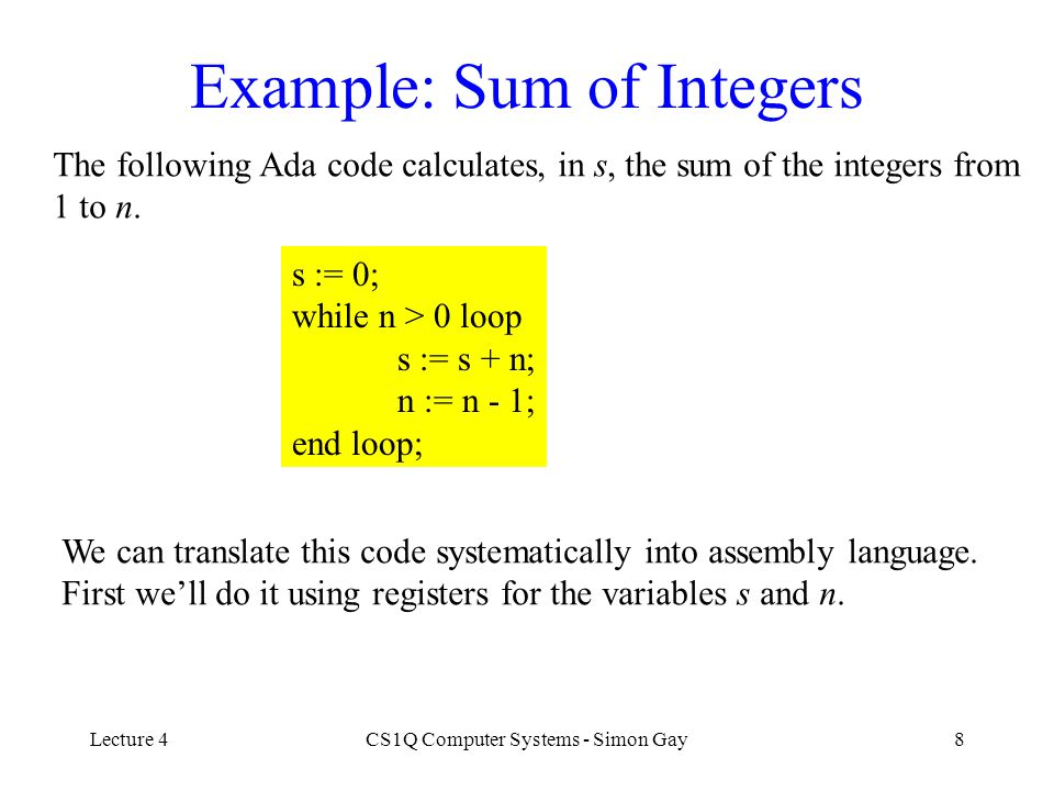 Example: Sum of Integers