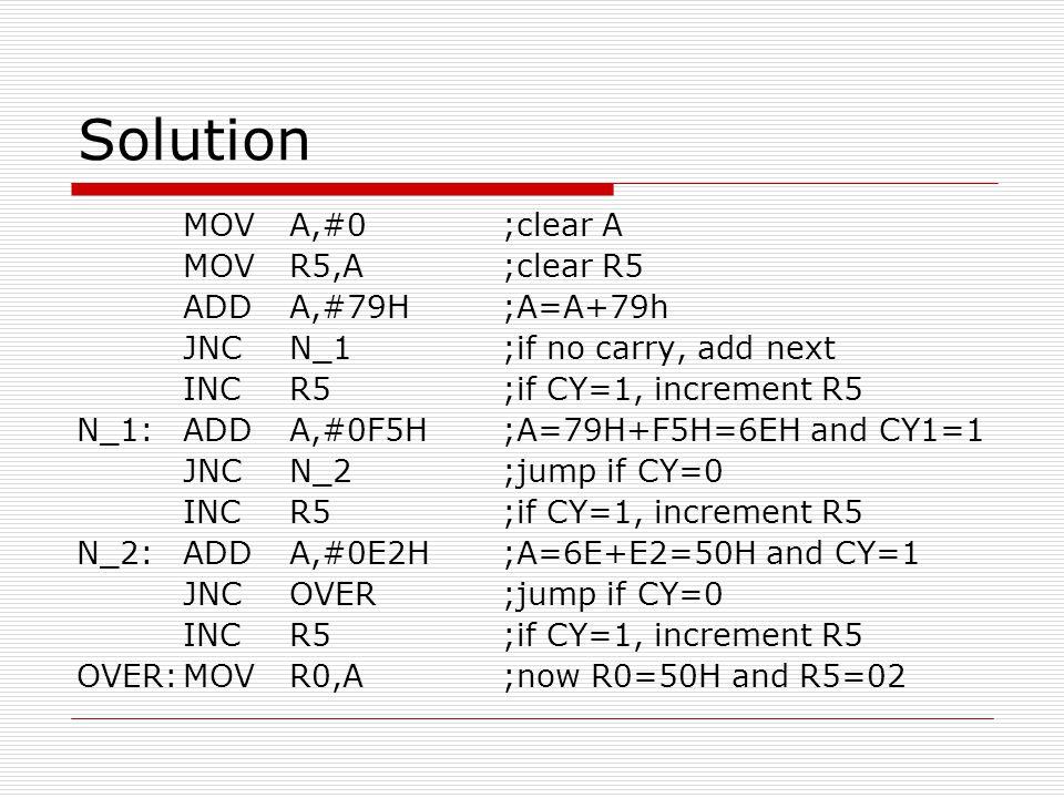 Solution MOV A,#0 ;clear A MOV R5,A ;clear R5 ADD A,#79H ;A=A+79h