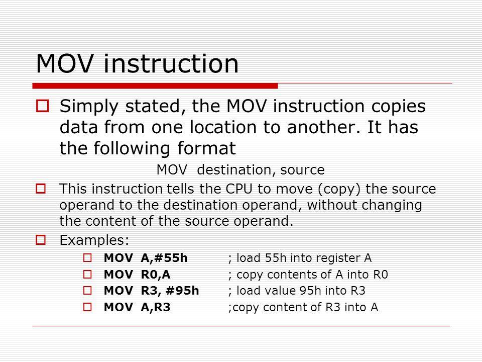 MOV destination, source