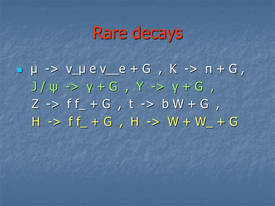 Rare decays μ -> ν_μ e ν__e + G , K -> π + G ,