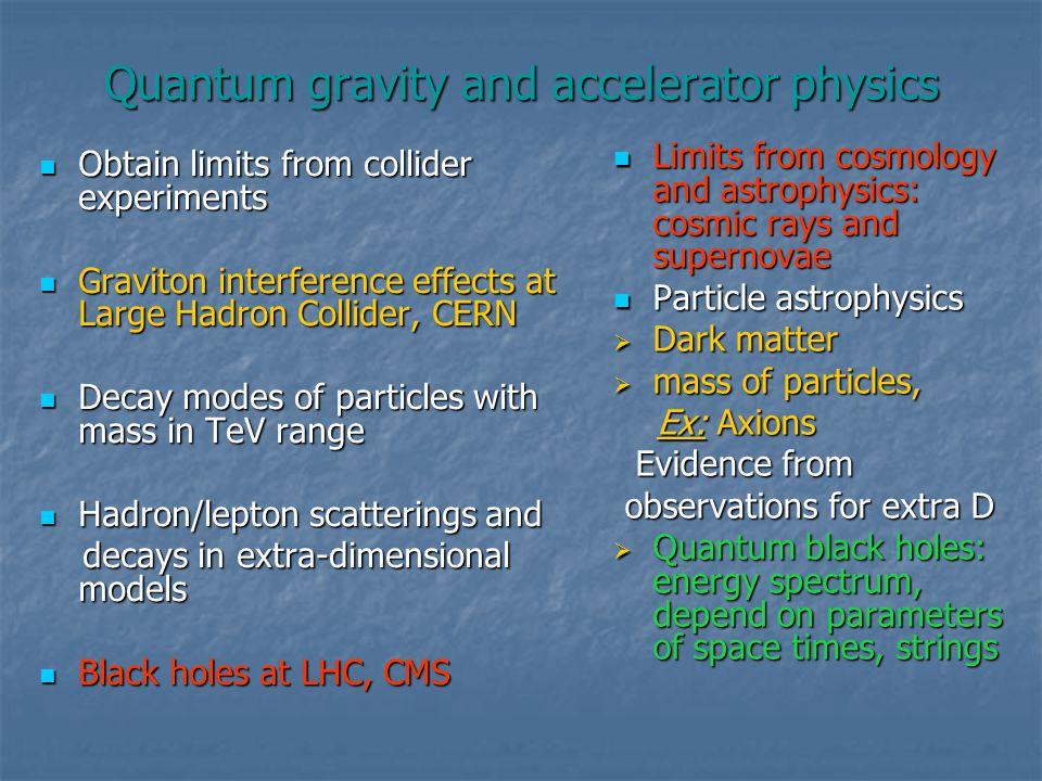 Quantum gravity and accelerator physics