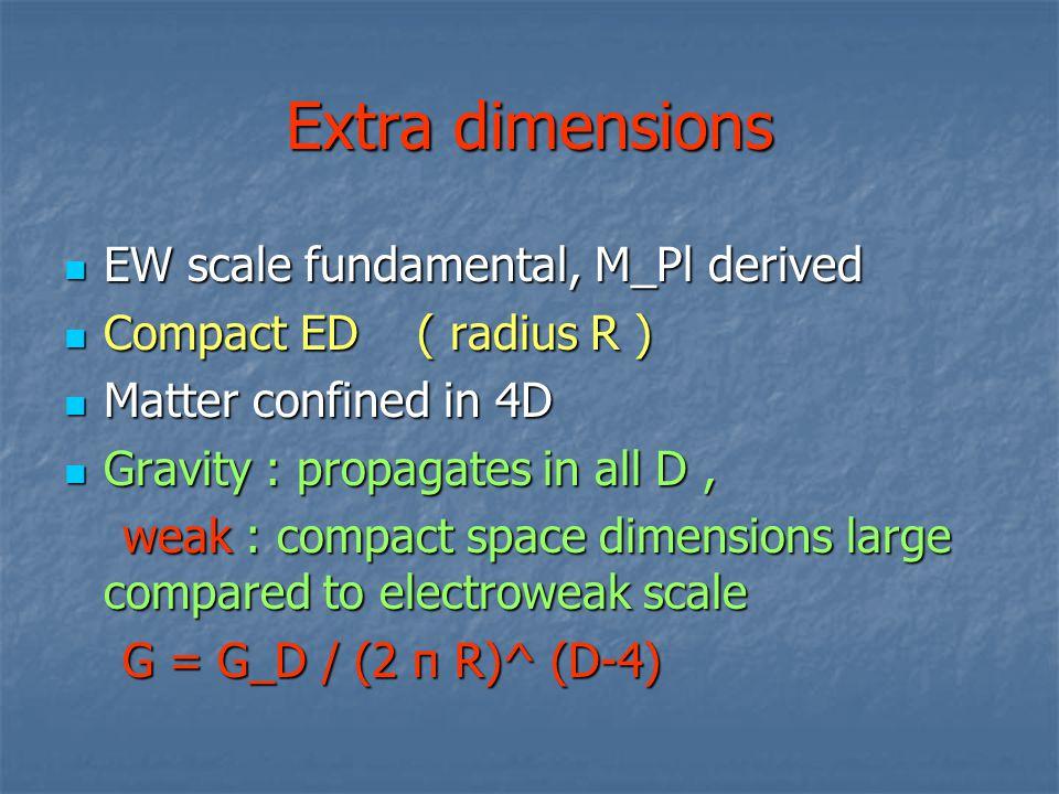 Extra dimensions EW scale fundamental, M_Pl derived