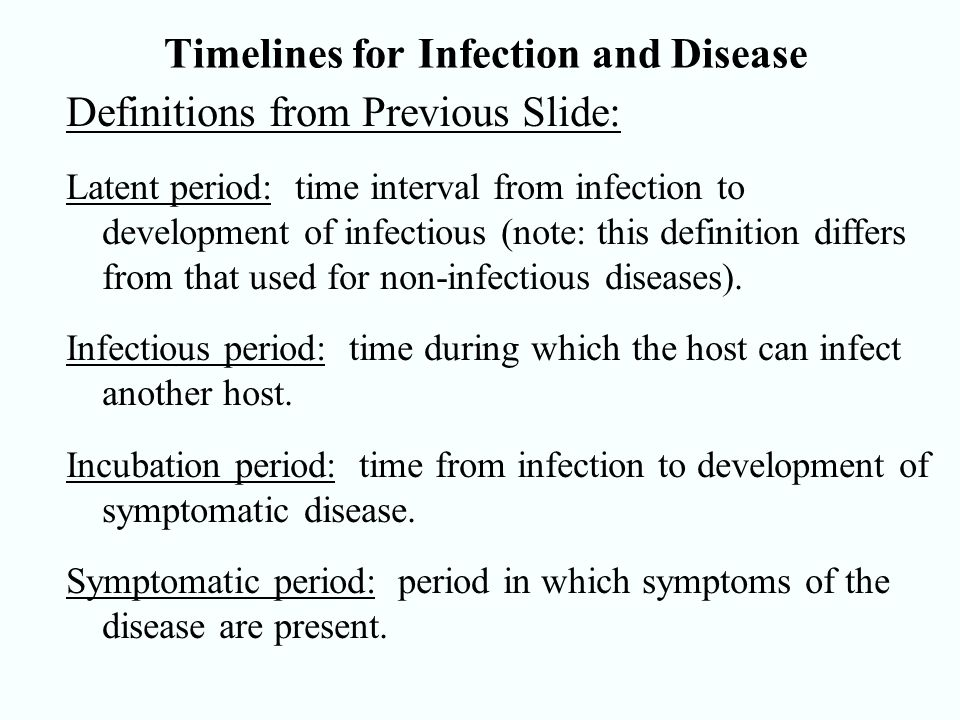 Timelines for Infection and Disease