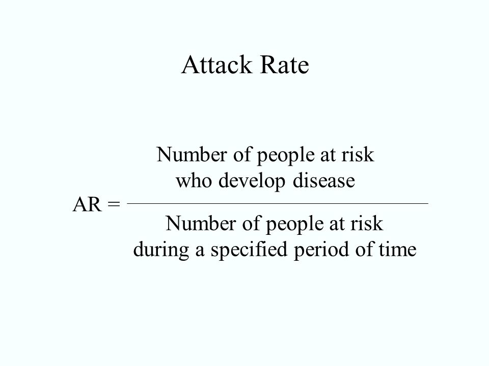 Attack Rate Number of people at risk who develop disease AR =