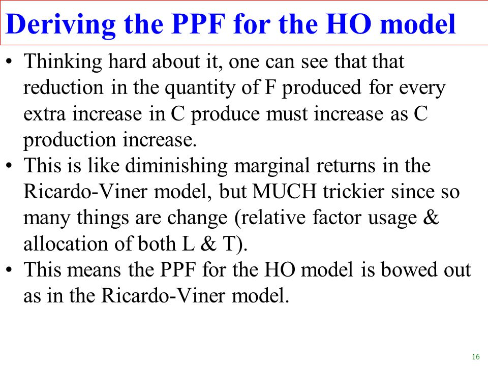 Deriving the PPF for the HO model