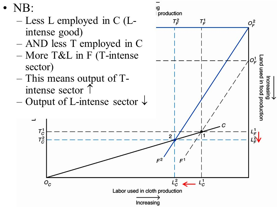NB: Less L employed in C (L-intense good) AND less T employed in C