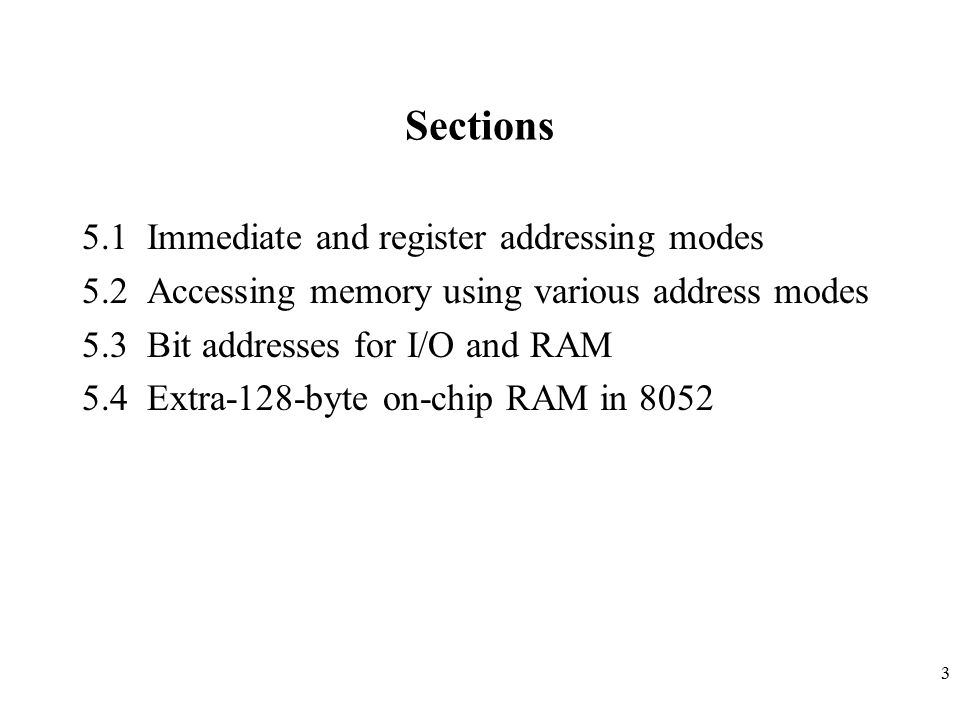 Sections 5.1 Immediate and register addressing modes